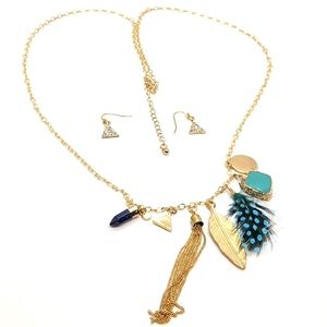 ♠️+12 Multi Charm Necklace & Earring Set G